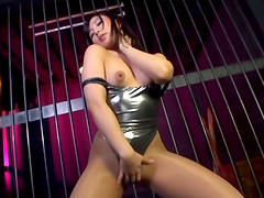 Idolatrous Asian solo model in a pantyhose with natural tits masturbates devotedly in a solo action