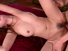 Stunning cowgirl thrilled as her natural tits gets sucked before face fucking a cock while being fucked in MMF