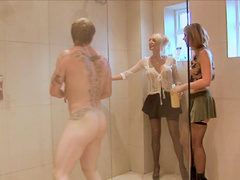 Lewd sex dolls squeeze into the shower for a n epic ffm threesome