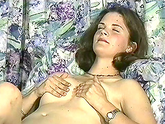 Arousing solo masturbation shoot with shapely brunette amateur
