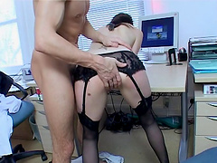 Charming secretary seduces her boss and gets fucked silly at work