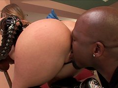 Glorious amateur being screwed doggy style with a big black cock