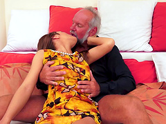 Amazing young babes with long hair getting her shaved pussy banged with an old guy