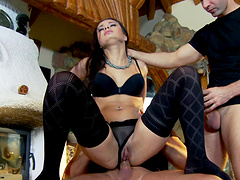 Charming brunette with long hair getting her anal fingered in mmf sex