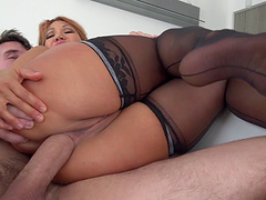 Ambitious cowgirl in stocking moaning while her anal is banged hardcore before getting facial cumshot