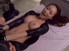 Curvy Asian dame with big tits pose lovely before getting her hairy pussy licked
