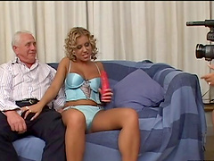 Captivating blonde babe with a shaved pussy gets fucked hardcore in a old vs young shoot