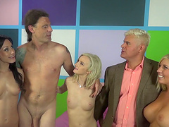 Lustful pornstars enjoy an orgasmic groupsex shoot hardcore