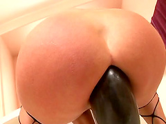 Threesome MMF of dazzling co-wives as they enjoy anal toys
