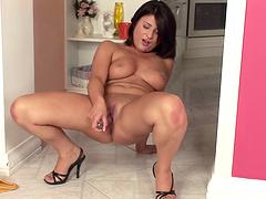 Lusty solo brunette needs a dildo in her aching hot pussy