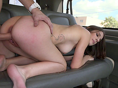 Dazzling amateur pornstar coping with a big cock in the back of a bus