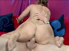 Foot fetish babe with big ass giving massive dick stunning blowjob