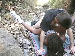 Ebony with medium ass yelling as her pussy is banged hardcore missionary outdoor