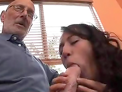Hot Brunette Teen Making Two Old Dudes Cum Harder Than Ever