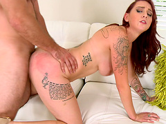 Tattooed dame with medium ass striptease before getting banged hardcore missionary