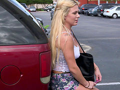 Blonde with long hair in skirt yelling as her pussy is banged hardcore missionary