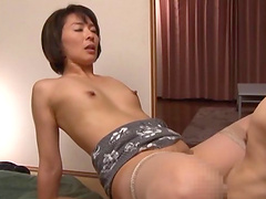 Pretty Asian pornstar gets fucked doggy style after getting her hairy pussy fingered