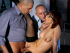 Wild MMF threesome ends with DP for naughty Tina Hot in the office