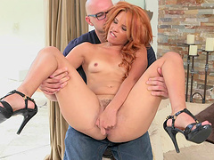 Adorable redhead with small tits enjoys getting her pussy licked then drilled hardcore