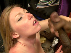 Black man puts his giant dick in juicy pussy of sexy Tegan Riley