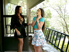Smooth lesbian sex between adorable Abigail Mac and Lola Foxx