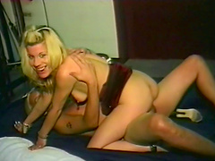 Charming milf with medium tits gives a blowjob then gets hammered hardcore
