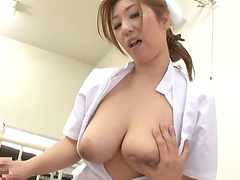 Delicate Asian nurse with big tits gets hammered until orgasm in a pov shoot