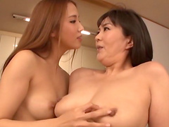 Sassy Asian lesbian milf with natural tits gets her pussy fingered until orgasm