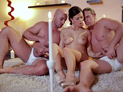 Adorable cowgirl with medium tits gives a blowjob then gets screwed in a hot mmf threesome