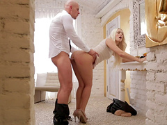Radiant blonde babe gets drilled hardcore anal after giving a blowjob