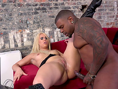 Guy watches as his girlfriend with medium tits gets drilled by a big cock