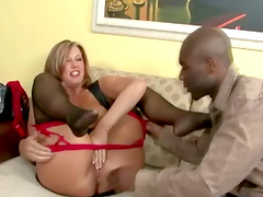 Chubby milf in a thong enjoys getting pounded by a big black cock