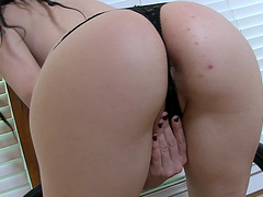 Small boobs brunette Vada drops her clothes to pleasure her cunt