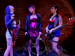 Tattooed sluts Sparky Sin Claire and Akira Raine have a threesome