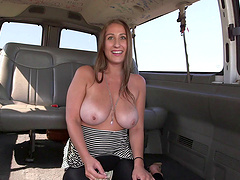 Big tits amateur gets her pussy drilled hardcore in a bus
