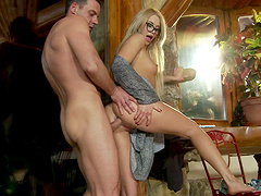 Classy blonde in glasses takes a huge fuckrod up her asshole