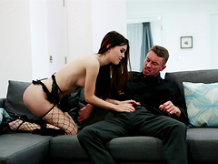 Hardcore fucking with standing doggy with provocative Misha Cross