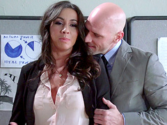 Good looking secretary Stephani Moretti fucked in the office