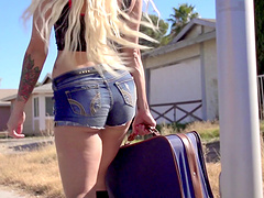Outdoor lesbian sex on the car between Kissa Sins and Riley Reid