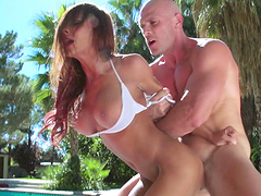 Outdoor fucking by the pool ends with facial for Madison Ivy