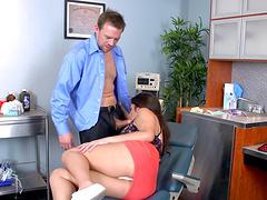 Brunette secretary Natalie Monroe sucks a dick and rides her boss