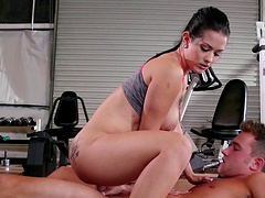 Hardcore fucking in the gym with shaved pussy babe Katrina Jade