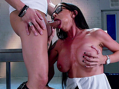Hardcore sex on the table in the interrogation room with Brandy Aniston