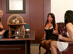 Office threesome on the table with Leigh Darby and Lezley Zen