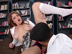Crazy sex on the table in the library with desirable Dillion Carter