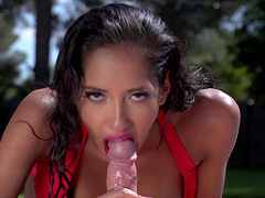 Sunbathing girl Chloe Amour gets horny and finds a dick to please her