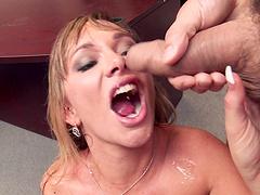 Blonde secretary Destiny Dixon drops on her knees to her boss off