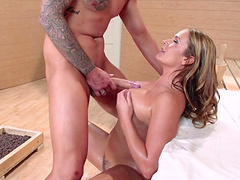 Hardcore fucking in the sauna ends with cum on tits of Elexis Monroe
