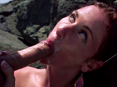 Skinny slut Tysen Rich fucked in her tight pussy by the beach