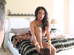 Pierced pussy wife Jessica Jaymes in stockings riding a fat dick